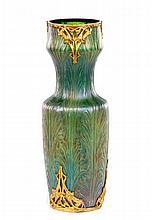Bohemian Gilt Bronze Mounted Iridescent Glass Vase