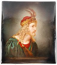 Marked KPM Portrait Plaque, Man with Feathered Cap