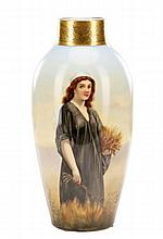 Finely Painted Porcelain Vase, Ruth Gleaning Wheat