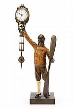 Cold Painted Bronze Figural Swing Clock, Aviator