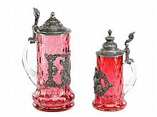 2 Bohemian Cranberry Glass & Pewter Tankards