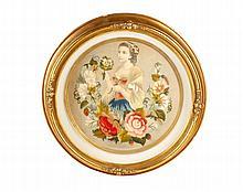 Victorian Lithograph Applique Embroidered Portrait