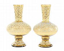 Pair of Coralene Beaded Glass Mantle Vases