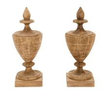 Pair of Carved Wood Urn Form Finials