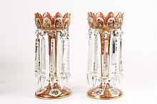 Pair of Bohemian Cranberry Glass Mantle Lustres