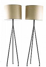 Pair Mid Century Modern Style Tripod Floor Lamps