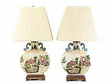 Matched Pair Chinese Porcelain Moon Flask Lamps
