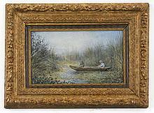 British School 19th C. Signed Watercolor, Fishing