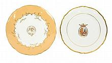 Collection of 2 Porcelain Plates w/ Armorial Motif