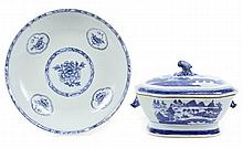 Two Chinese Export Blue & White Porcelain Servers