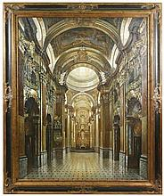 Large Oil on Canvas, Interior View of Cathedral