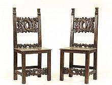 Pair of Stained & Carved Oak Hall Chairs, 19th C.