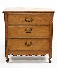 French 19th C. Pine Three Drawer Commode