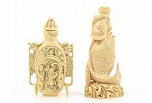 Two Finely Carved Chinese Ivory Snuff Bottles