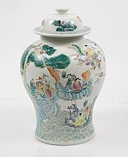 Large Chinese Porcelain Urn with Figural Scene