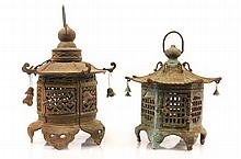 Two Chinese Pagoda Form Garden Lanterns