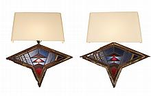 Pair of Art Deco Leaded & Stained Glass Sconces