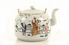 Porcelain Chinese Teapot w/ Figural Scenes