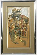 Modern Gouache Landscape, Signed Frank Baisden