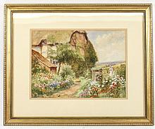 A.S. Wilkinson Signed Watercolor of English Garden