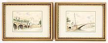 Pair of Hand Enhanced Prints of French Bridges