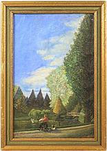19th C. French Park Scene, Academie Artist Signed