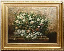 Large Still Life with Roses & Peonies, Signed Oil