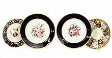 4 English Porcelain Plates, Derby & Chamberlain's
