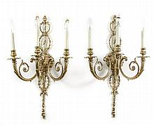 Pair of French Cast Brass 3-Light Wall Sconces