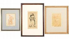 Group of 3 Framed Figural Works of Women, Signed