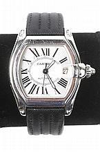 Men's Cartier Roadster Steel Watch w/Black Band