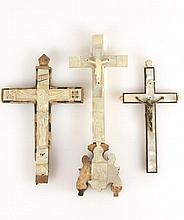3 Hand Carved Wood & Mother Of Pearl Crucifixes