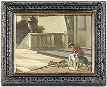 19th C. Oil on Wood Panel, Courtly Man w/ Hounds