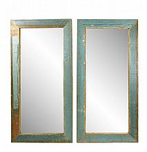 Pair of Large Teal Painted Pine Wood Mirrors