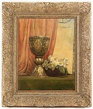 Emil Carlsen, Signed Still Life w/Goblet & Flowers