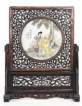 Chinese Hand Painted Table Screen, Shou/ Lan Caihe
