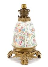 Chinese Famille Rose Porcelain Oil Lamp, 19th C.