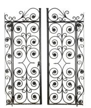 Pair of Large Wrought Iron Doors, 19th C.