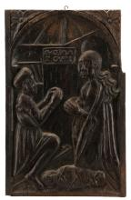 German Wood Relief Carving c. 1500, The Nativity