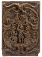 English Renaissance Oak Relief Panel, Disputation