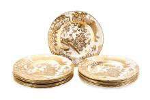 12 Royal Crown Derby Gold Aves Dinner Plates
