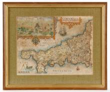 1637 Hand Colored Map of Cornwall, William Kip
