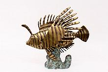 Modernist Style Bronze Sculpture of a Lion Fish