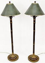 Pair of Metal Bamboo Motif Floor Lamps