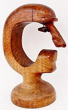 Modernist Carved Wood Sculpture of a Face