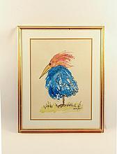 Robert Sargent Bird Watercolor, Signed