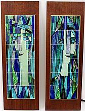 Pair of Harris Strong Modern Pottery Tile Artworks