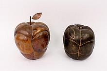 Two Metal Fruit Decorative Sculptures of Apples