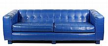 Blue Naugahyde Tufted Sofa by Milo Baughman