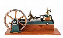 Live Steam Engine Horizontal on Wood Display Base